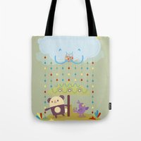 color raindrops keep falling on my head Tote Bag