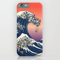 wave iPhone & iPod Cases featuring The Great Wave of Pug   by Huebucket