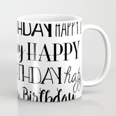 Happy Birthday | Black and White Pattern Mug