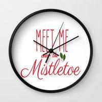 Meet Me Under The Mistletoe Red Wall Clock