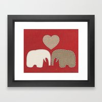 Appliqued Elephants Framed Art Print