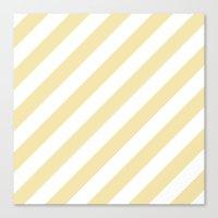 Diagonal Stripes (Vanilla/White) Canvas Print