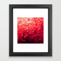 MERMAID SCALES 4 Red Vibrant Ocean Waves Splash Crimson Strawberry Summer Ombre Abstract Painting Framed Art Print