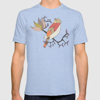 Singing Red Bird Mens Fitted Tee Tri-Blue SMALL