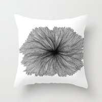 Jellyfish Flower B&W Throw Pillow