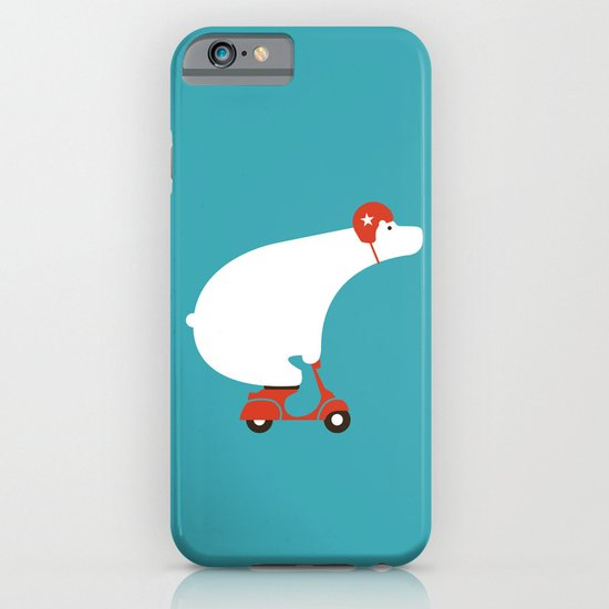 Polar bear on scooter iPhone & iPod Case