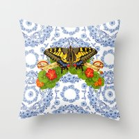 Swallowtail Butterfly and Blue Rhapsody Throw Pillow