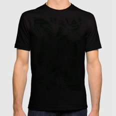 Leaf tropical pattern SMALL Black Mens Fitted Tee