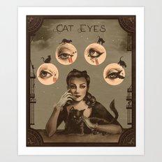 Cat Eyes Makeup Tutorial Illustration Art Print