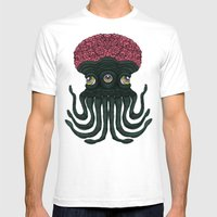 Octopus Brains Mens Fitted Tee White SMALL