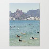 Ipanema Beach Surfers Canvas Print