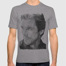 Christian Bale Traditional Portrait Print Mens Fitted Tee Athletic Grey SMALL