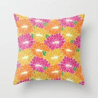 Paper Cut Floral Throw Pillow