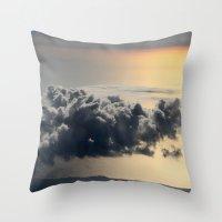 cloud above ocean Throw Pillow