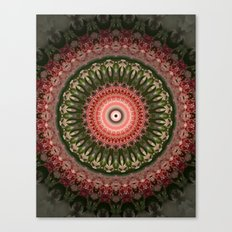 Mandala in bright green and red colors Canvas Print