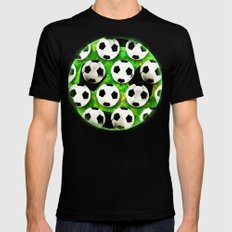 Soccer Ball Football Pattern Black Mens Fitted Tee SMALL