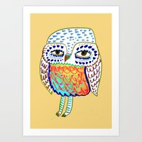 colorful Owl, owl art, owl design, owl print,  Art Print