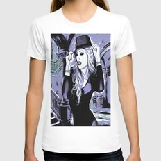 Purple Chic Comic Womens Fitted Tee White SMALL