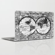 World Map Black And Whit… Laptop & iPad Skin