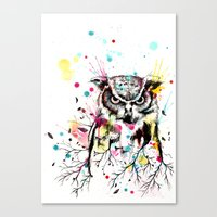 Owl Tree Watercolor Canvas Print