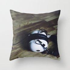 vintage headphone Throw Pillow