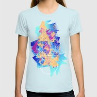 Burger Lines Womens Fitted Tee Light Blue SMALL
