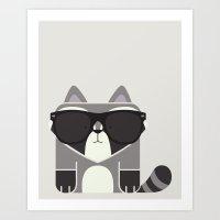 Hipster Raccoon Art Prin… Art Print