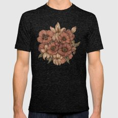 Poppies And Lilies  Mens Fitted Tee Tri-Black SMALL
