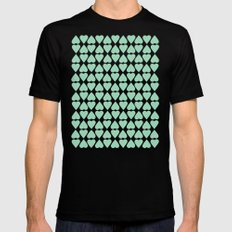Diamond Hearts Repeat Mint Mens Fitted Tee SMALL Black