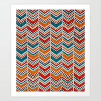 Teal, Red and Goldenrod chevron Art Print