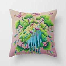 the flamingo world Throw Pillow