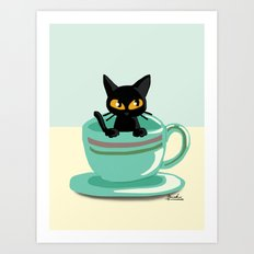 Cat in the cup Art Print