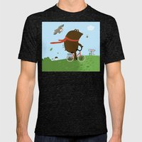 The Bear goes to the City Mens Fitted Tee Tri-Black SMALL