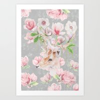 Deer Head & Magnolia's  Art Print