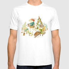 Critters: Summer Gardening SMALL Mens Fitted Tee White