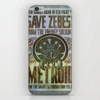Save Zebes! Metroid Geek Art Vintage Poster iPhone & iPod Skin
