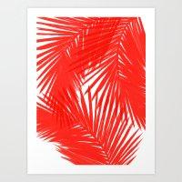 Palms Red Hot Art Print