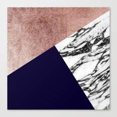 Modern Marble Rose Gold and Navy Blue Tricut Geo Canvas Print