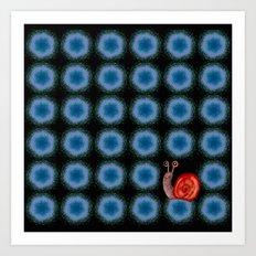 blue circles with snail Art Print