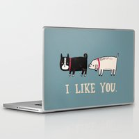 dog Laptop & iPad Skins featuring I Like You. by gemma correll