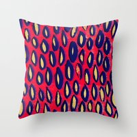 Mixed media and digital blue and pink pattern Throw Pillow