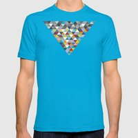 Triangles with Topper Mens Fitted Tee Teal SMALL
