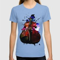 Violin Nebula Womens Fitted Tee Tri-Blue SMALL