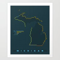 MDOT - Michigan Land & Maritime Borders Art Print