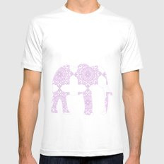 Animals Illustration - Purple Damask elephant Mens Fitted Tee White SMALL