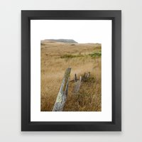 Navaro Bluffs, dilapidated old fence Framed Art Print