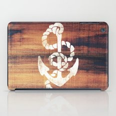 Vintage Nautical Anchor White on Brown Wood Grain iPad Case