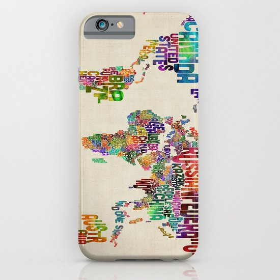 Typography Text Map of the World iPhone & iPod Case