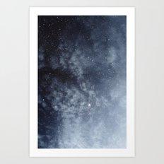 Blue veiled moon Art Print