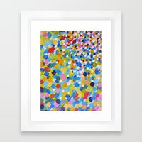 SWEPT AWAY 1 - Bright Colorful Rainbow Blue Ocean Waves Mermaid Splash Abstract Acrylic Painting Framed Art Print